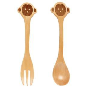 フォーク & スプーン セット 子供用 木製 プチママン モンキー サル|atease