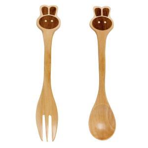 フォーク & スプーン セット 子供用 木製 プチママン ラビット ウサギ|atease