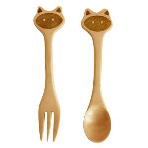 フォーク & スプーン セット 子供用 木製 プチママン キャット ネコ atease