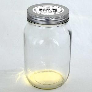 LEDライト付ガラスジャー スパイス GLASS JAR WITH LED 蓋穴なし Lサイズ atease