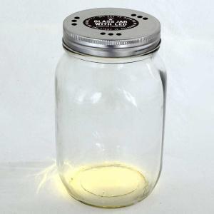 LEDライト付ガラスジャー スパイス GLASS JAR WITH LED 蓋穴あり Lサイズ atease