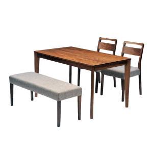 ダイニングテーブルセット ダイニング4点セット meets 125 テーブル125cm×1 チェア×2 ベンチ×1 4人用 ウォールナット無垢材 カバーリングタイプ|atease
