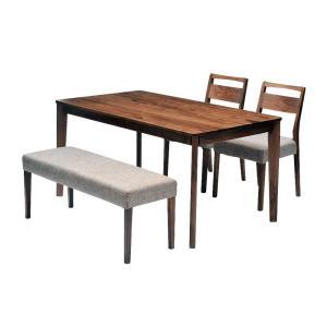 ダイニングテーブルセット ダイニング4点セット meets 140 テーブル140cm×1 チェア×2 ベンチ×1 4人用 ウォールナット無垢材 カバーリングタイプ|atease