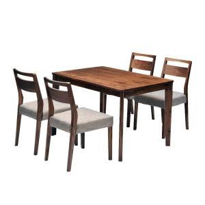 ダイニングテーブルセット ダイニング5点セット meets 110 テーブル110cm×1 チェア×4 4人用 ウォールナット無垢材 カバーリングタイプ|atease