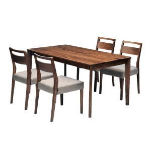 ダイニングテーブルセット ダイニング5点セット meets 140 テーブル140cm×1 チェア×4 4人用 ウォールナット無垢材 カバーリングタイプ|atease