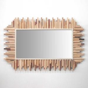鏡 ミラー ウォールミラー 壁掛けタイプ MIXWOOD レクトミラー 木製フレーム 縦・横取付可能|atease