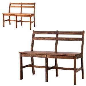 ダイニングチェア ダイニングベンチ 背もたれ付 SOME パイン無垢材 木製 シンプル カントリー 2人用 atease