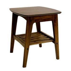 サイドテーブル ROSIE 棚付 ウォールナット 北欧モダン|atease