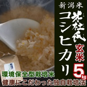 玄米 5kg 新潟産コシヒカリ 米杜氏 環境保全 契約 栽培米 (新潟米 お米 令和元年産 R1)|atechigo
