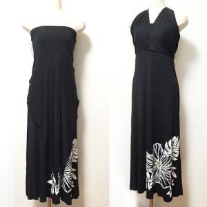 ベアトップサッシュドレス ハイビスカス ブラック パープル 2Wayスカートワンピース マキシスカート ハワイアンフラダンス|atelier-ayumi