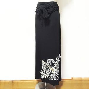 ベアトップサッシュドレス ハイビスカス ブラック パープル 2Wayスカートワンピース マキシスカート ハワイアンフラダンス|atelier-ayumi|02