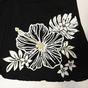 ベアトップサッシュドレス ハイビスカス ブラック パープル 2Wayスカートワンピース マキシスカート ハワイアンフラダンス|atelier-ayumi|04