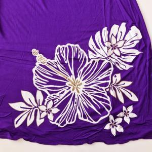 ベアトップサッシュドレス ハイビスカス ブラック パープル 2Wayスカートワンピース マキシスカート ハワイアンフラダンス|atelier-ayumi|05