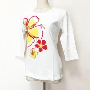 七分袖 フラTシャツ ハイビスカス プリント ブラック M L LL 3L 送料無料 クリックポスト ハワイアンプリント フラダンス 7分袖|atelier-ayumi