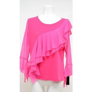 七分袖 斜めフリル デザインカットソー ピンク  送料無料クリックポスト ハワイアン ストレッチ ダンスTシャツ フラTシャツ|atelier-ayumi