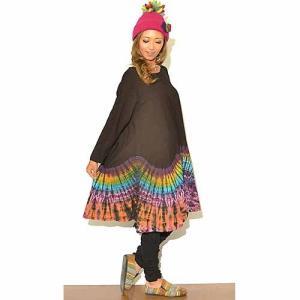 ゆったりタイダイAラインワンピース〈ブラック〉アジアンエスニック ハワイアンリゾートウエア エスニックチュニック アジアンファッション|atelier-ayumi