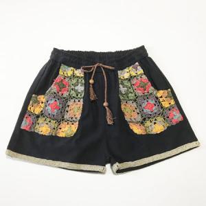 クロシェ ショート パンツ〈クロ〉綿100% ネパール製 アジアン エスニック 送料無料 クリックポスト ボヘミアン ネイティブ|atelier-ayumi