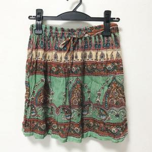 フラワー ペーズリー エスニック ミニスカート〈グリーン&ブラウン〉 アジアン衣料 楊柳 レーヨン100% 送料無料 インド製 オーバースカート 水着の上に!|atelier-ayumi