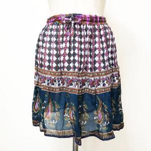 フラワー ペーズリー エスニック ミニスカート〈ネイビー&パープル〉 アジアン 衣料 楊柳 レーヨン100% 送料無料  インド製 オーバースカート 水着の上に!|atelier-ayumi