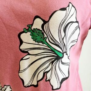 半袖Tシャツ ハイビスカス プリント オールドピンク M Lサイズ コットン100% ハワイアン プリント 半袖フラTシャツ 送料無料 クリックポスト atelier-ayumi 03