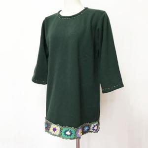暖か クロシェ 七分袖 チュニック〈グリーン〉 送料無料 レターパック ナチュラル エスニック衣料 裏起毛 素材フリース ポリエステル100% ネパール製 トップス|atelier-ayumi