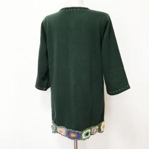 暖か クロシェ 七分袖 チュニック〈グリーン〉 送料無料 レターパック ナチュラル エスニック衣料 裏起毛 素材フリース ポリエステル100% ネパール製 トップス|atelier-ayumi|02