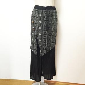 ラップスカート風ワイドパンツ〈ボックスブラック〉スカンツ インド綿100% アジアンエスニック ワイドパンツ|atelier-ayumi