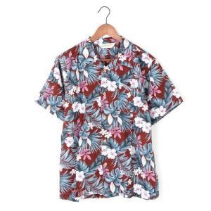 メンズアロハシャツレーヨン モンステラハイビスカス M/L/LLサイズ レーヨン100% ハワイアンフラワープリント 花柄|atelier-ayumi|02