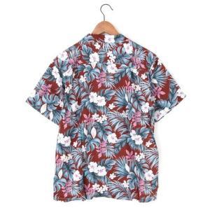 メンズアロハシャツレーヨン モンステラハイビスカス M/L/LLサイズ レーヨン100% ハワイアンフラワープリント 花柄|atelier-ayumi|03
