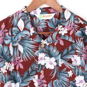 メンズアロハシャツレーヨン モンステラハイビスカス M/L/LLサイズ レーヨン100% ハワイアンフラワープリント 花柄|atelier-ayumi|04