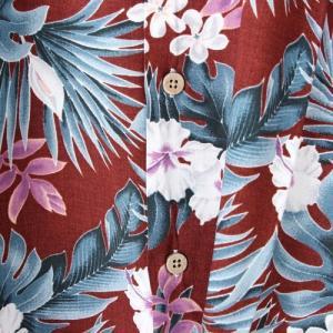 メンズアロハシャツレーヨン モンステラハイビスカス M/L/LLサイズ レーヨン100% ハワイアンフラワープリント 花柄|atelier-ayumi|06