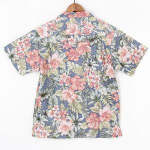 メンズアロハシャツ プルメリアハイビスカス柄〈ネイビー〉LL コットン100% ハワイアン|atelier-ayumi|02