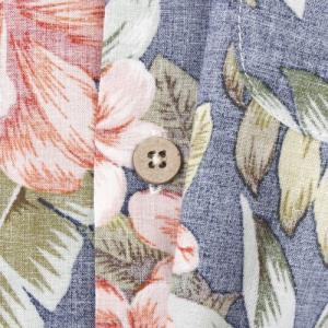 メンズアロハシャツ プルメリアハイビスカス柄〈ネイビー〉LL コットン100% ハワイアン|atelier-ayumi|03