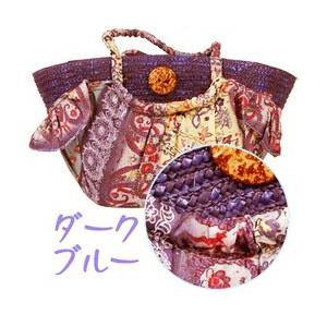 ペイズリー スカーフ カゴバッグ 〈ダークブルー〉 ストロー素材 かごバッグ エスニック ボヘミアン ハワイアン雑貨 リゾート|atelier-ayumi