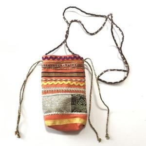 インド製 マルチ ボーダー 民族柄 巾着 ポーチ 〈 オレンジ 〉エスニック 送料無料 メール便 綿100% ミニバッグ atelier-ayumi