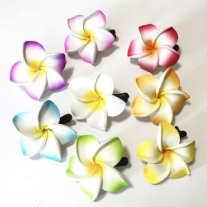 プルメリア へアークリップ 同色2個組み ヘアーアクセサリー ハワイアンアクセ ヘアアクセ バレッタ フラダンスに|atelier-ayumi