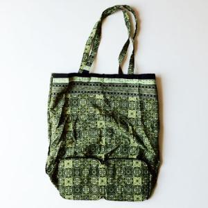インドネシア バティック 折りたたみ エコバッグ 〈グリーン〉 送料無料 クリックポスト 総柄 A4サイズ 綿 100% エスニック アジアン カーキ 緑 atelier-ayumi