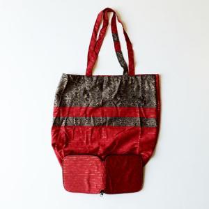 インドネシア バティック 折りたたみ エコバッグ 〈レッド〉 送料無料 クリックポスト 総柄 A4サイズ 綿 100% エスニック アジアン 赤 atelier-ayumi