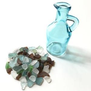 シーグラス 小粒 100g入りガラスの小瓶 〈ブルー〉ブルークレール プチボトル  ワイヤーカップ  天然素材 海の宝石 ビーチグラス  ハワイアン雑貨  マリン雑貨|atelier-ayumi