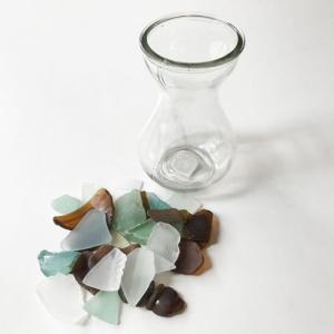 大きめシーグラス 200g入りガラスの花瓶 〈クリア〉天然素材 海の宝石 ビーチグラス  ハワイアン雑貨  マリン雑貨 NO.4 CLEAR|atelier-ayumi