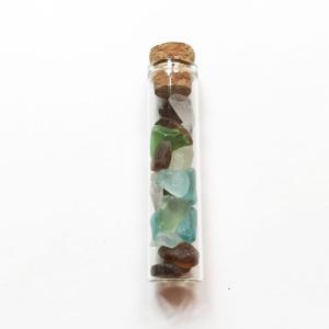 小粒シーグラス ガラス コルクミニボトル〈クリア〉 ガラスの小瓶 天然素材 海の宝石 ビーチグラス ハワイアン雑貨 マリン雑貨|atelier-ayumi