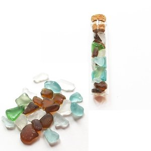 小粒シーグラス ガラス コルクミニボトル〈クリア〉 ガラスの小瓶 天然素材 海の宝石 ビーチグラス ハワイアン雑貨 マリン雑貨|atelier-ayumi|02