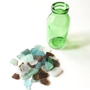 シーグラス 小粒 ガラスの小瓶 マルケボトルベース〈ライムグリーン〉 天然素材 海の宝石 ビーチグラス アソートカラー ハワイアン雑貨 マリン雑貨|atelier-ayumi