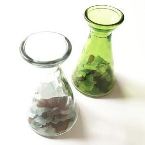 シーグラス 小粒 ガラスの小瓶 ベース〈クリア/グリーン〉 天然素材 海の宝石 ビーチグラス アソートカラー ハワイアン雑貨 マリン雑貨 ヒヤシンスに|atelier-ayumi