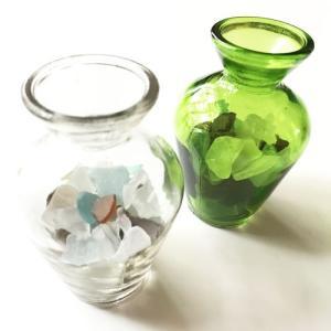 シーグラス 小粒 ガラスの小瓶 ヒヤシンスベース〈クリア/グリーン〉 天然素材 海の宝石 ビーチグラス アソートカラー ハワイアン雑貨 マリン雑貨|atelier-ayumi