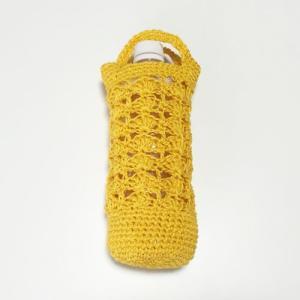 手編み ヘンプ ペットボトルカバー 送料無料 ペットボトルホルダー  ハンドメイド 遠足 行楽に ペットボトル入れ ケースカバー  パイナップルカラー|atelier-ayumi|02