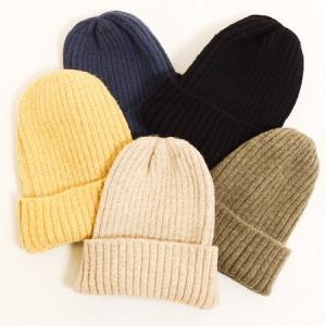 シンプル リブ ニット帽 〈クロ コン カーキ ベージュ イエロー〉ニット キャップ アクリル 100% レディース帽子 メンズ帽子 送料無料 Fillil フィリル 帽子|atelier-ayumi