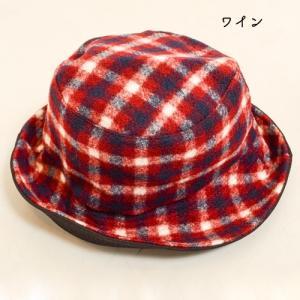 タータン チェック ボア リバーシブル バケット ハット 〈ワイン キャメル〉綿100% レディース帽子 メンズ帽子 送料無料 Fillil フィリル 森ガール 山ガールに|atelier-ayumi|02