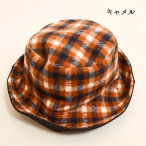 タータン チェック ボア リバーシブル バケット ハット 〈ワイン キャメル〉綿100% レディース帽子 メンズ帽子 送料無料 Fillil フィリル 森ガール 山ガールに|atelier-ayumi|03