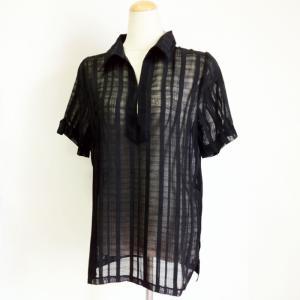 タウン スキッパー シャツ〈クロ〉ポリエステル100% ストライプ織り トップス Tシャツ ブラウス 送料無料 atelier-ayumi